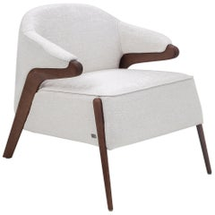 Osa Upholstered Armchair in Walnut Frame and White Fabric