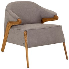 Osa Upholstered Curve Back Armchair in Teak Finish and Gray Fabric