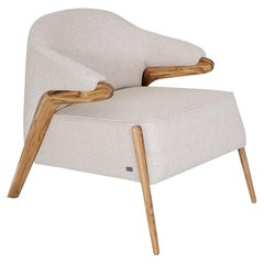 Osa Upholstered Curve Back Armchair in Teak Finish and Oatmeal Colored Fabric