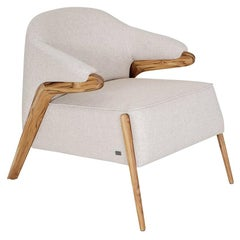 Osa Upholstered Curve Back Armchair in Teak Finish and Oatmeal Fabric