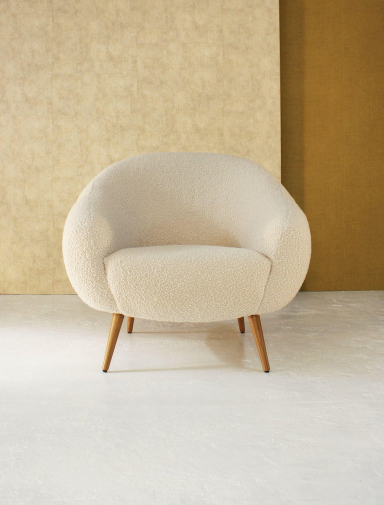 Portuguese Oscar Niemeyer Midcentury 1950s Inspired Bouclé Fabric Armchair For Sale