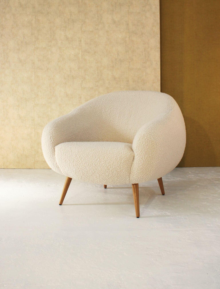 Hand-Crafted Oscar Niemeyer Midcentury 1950s Inspired Bouclé Fabric Armchair For Sale