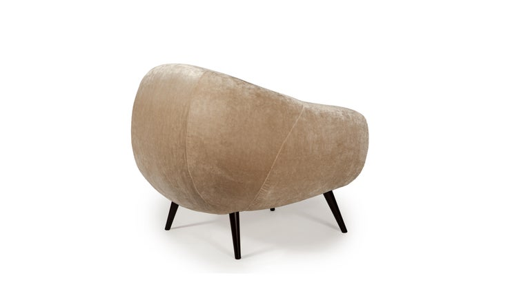 Hand-Crafted Oscar Niemeyer Midcentury 1950s Inspired Cotton Velvet Fabric Armchair For Sale