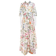 Osca De La Renta White Floral Printed Belted Maxi Dress L