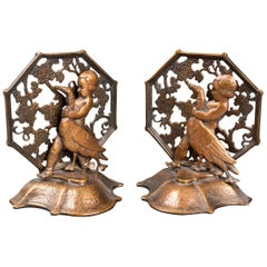 Oscar Bach Art Deco Bronze Girl and Goose Bookends
