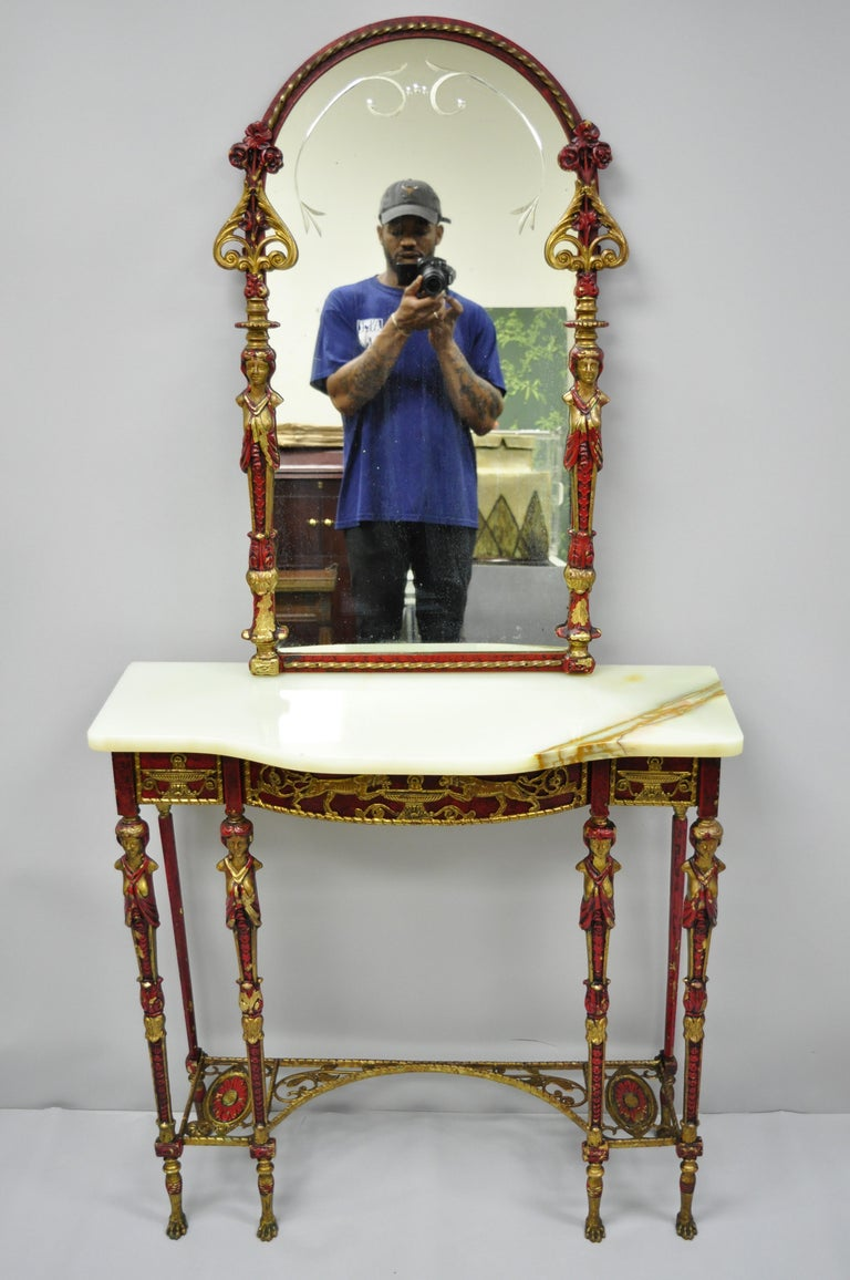 Oscar Bach Attr. Bronze and Onyx Top Red Console Hall Table with Figural Mirror For Sale 9