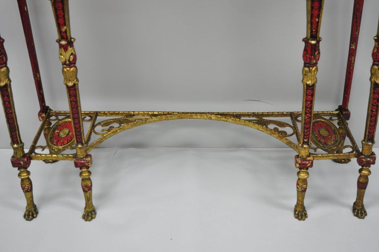 Oscar Bach Attr. Bronze and Onyx Top Red Console Hall Table with Figural Mirror For Sale 10