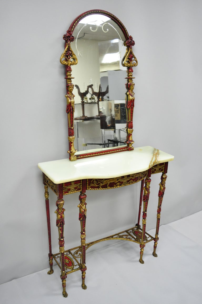 Oscar Bach Attr. Bronze and Onyx Top Red Console Hall Table with Figural Mirror For Sale 12