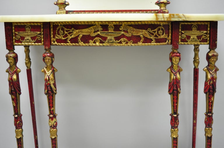 Neoclassical Oscar Bach Attr. Bronze and Onyx Top Red Console Hall Table with Figural Mirror For Sale