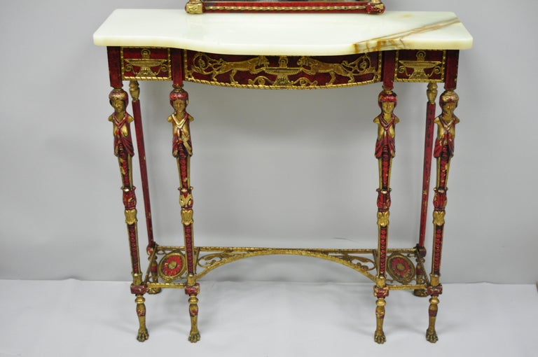 Oscar Bach Attr. Bronze and Onyx Top Red Console Hall Table with Figural Mirror For Sale 1