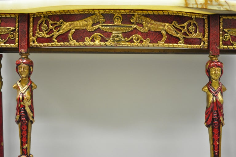 Oscar Bach Attr. Bronze and Onyx Top Red Console Hall Table with Figural Mirror For Sale 3