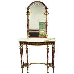 Oscar Bach Attr. Bronze and Onyx Top Red Console Hall Table with Figural Mirror