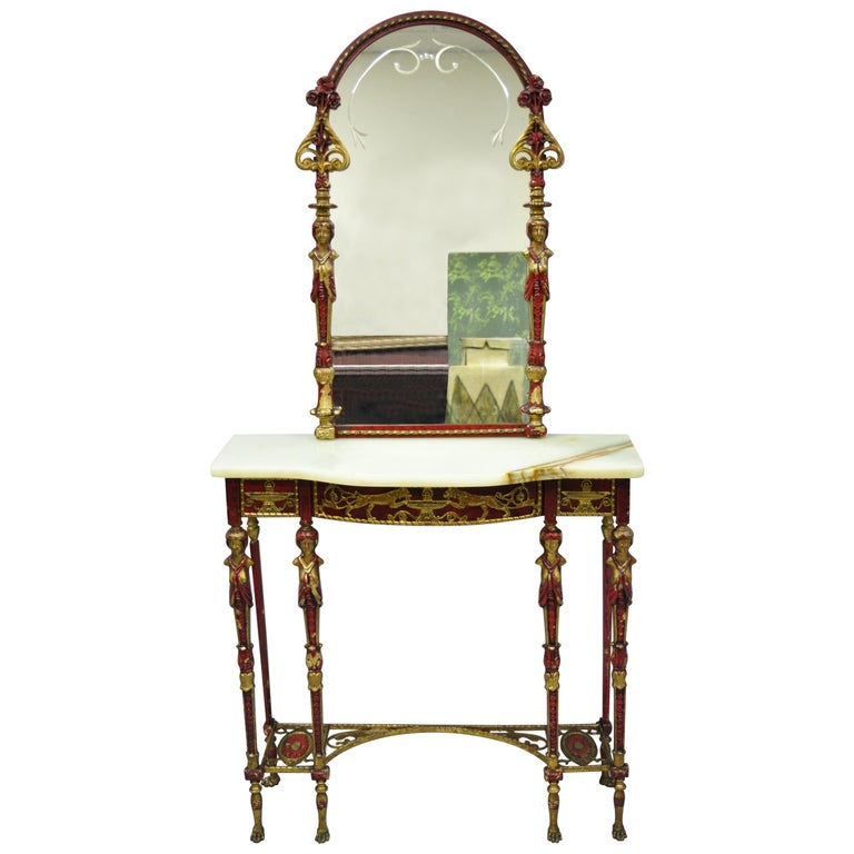 Oscar Bach Attr. Bronze and Onyx Top Red Console Hall Table with Figural Mirror For Sale