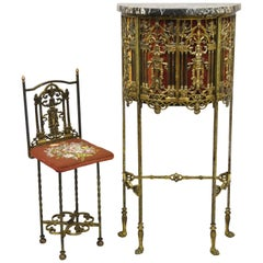 Oscar Bach Attributed Figural Bronze Marble-Top Telephone Hall Stand with Chair