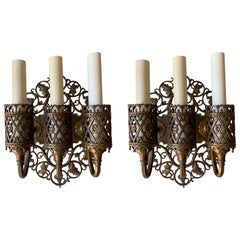 Oscar Bach Bronze Three-Arm Sconces, a Pair
