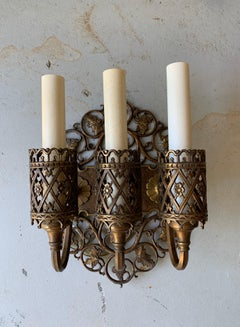 Oscar Bach Bronze Three Arm Sconces, a Pair