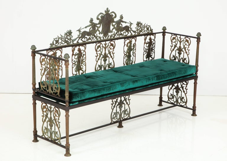 Oscar Bach Iron and Bronze Benches with Velvet Seat Cushions, USA, 1920s In Excellent Condition For Sale In New York, NY