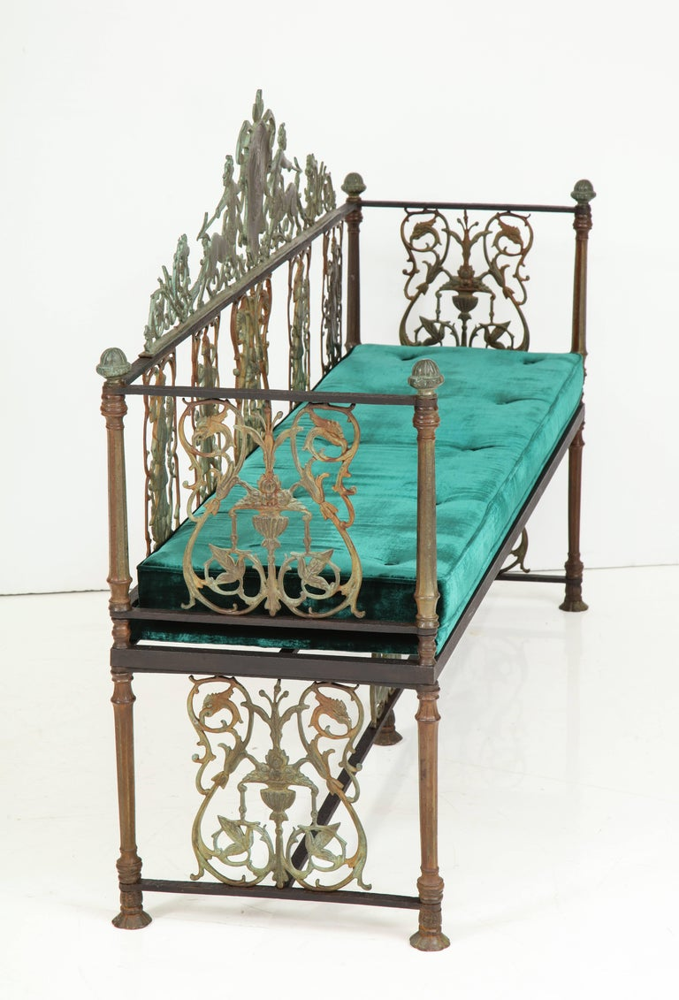 Oscar Bach Iron and Bronze Benches with Velvet Seat Cushions, USA, 1920s For Sale 1