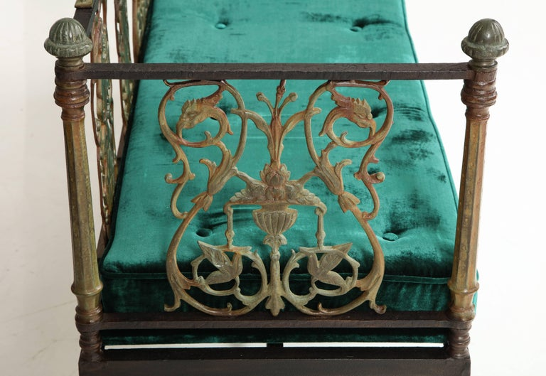 Oscar Bach Iron and Bronze Benches with Velvet Seat Cushions, USA, 1920s For Sale 4