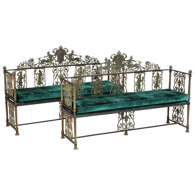 Oscar Bach Iron and Bronze Benches with Velvet Seat Cushions, USA, 1920s For Sale
