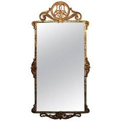 Marcel Bergue Style Mirror Bronze and Iron