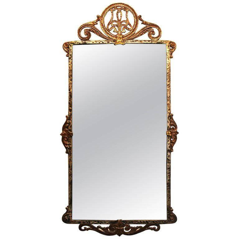 Edgar Brandt Style Mirror Bronze and Iron American 'Beaux Arts'
