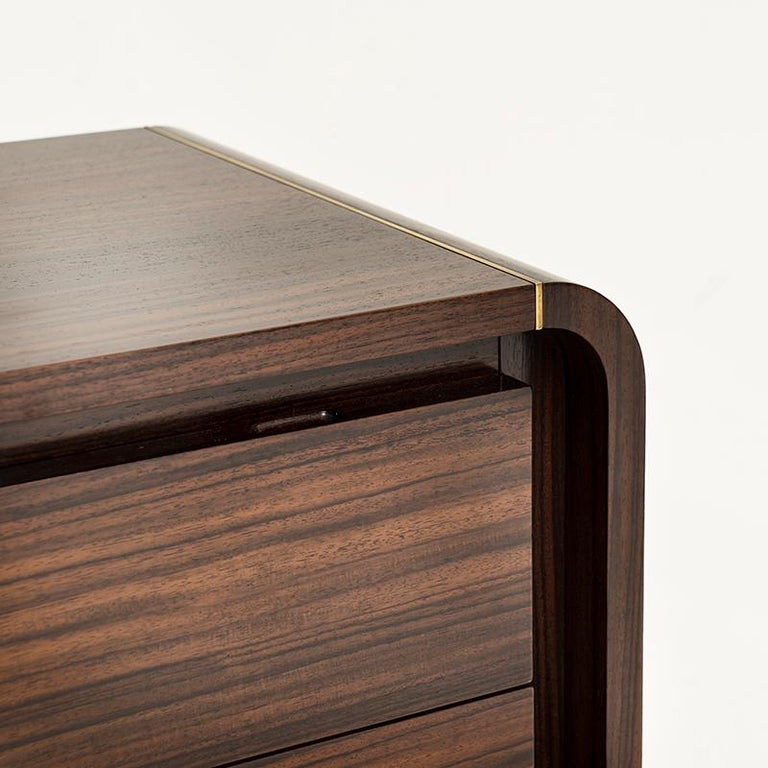 Mid-Century Modern Oscar Cabinet or Bedside Table, Bespoke, Rosewood with Antique Brass Detail For Sale