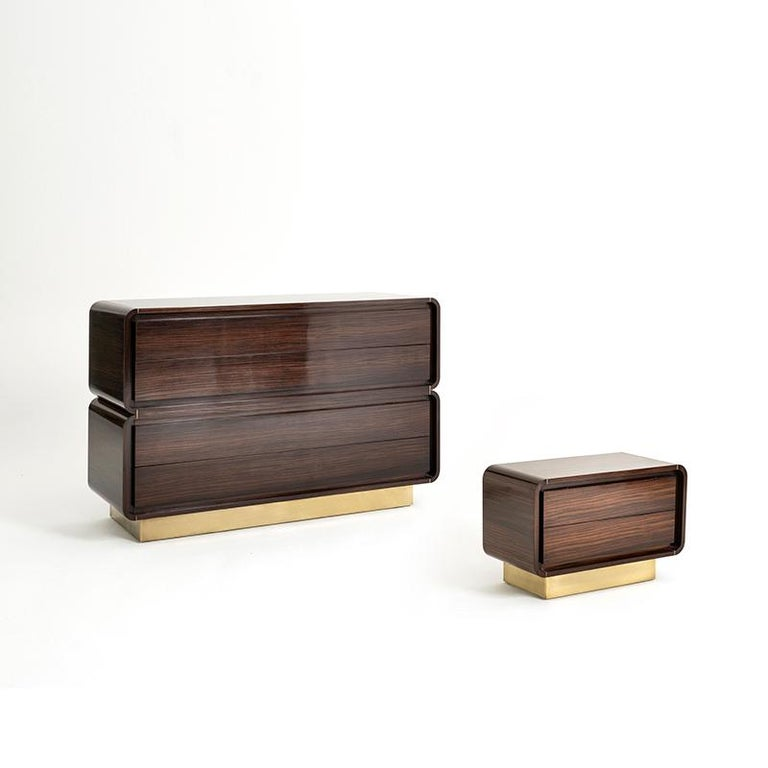 British Oscar Cabinet or Bedside Table, Bespoke, Rosewood with Antique Brass Detail For Sale