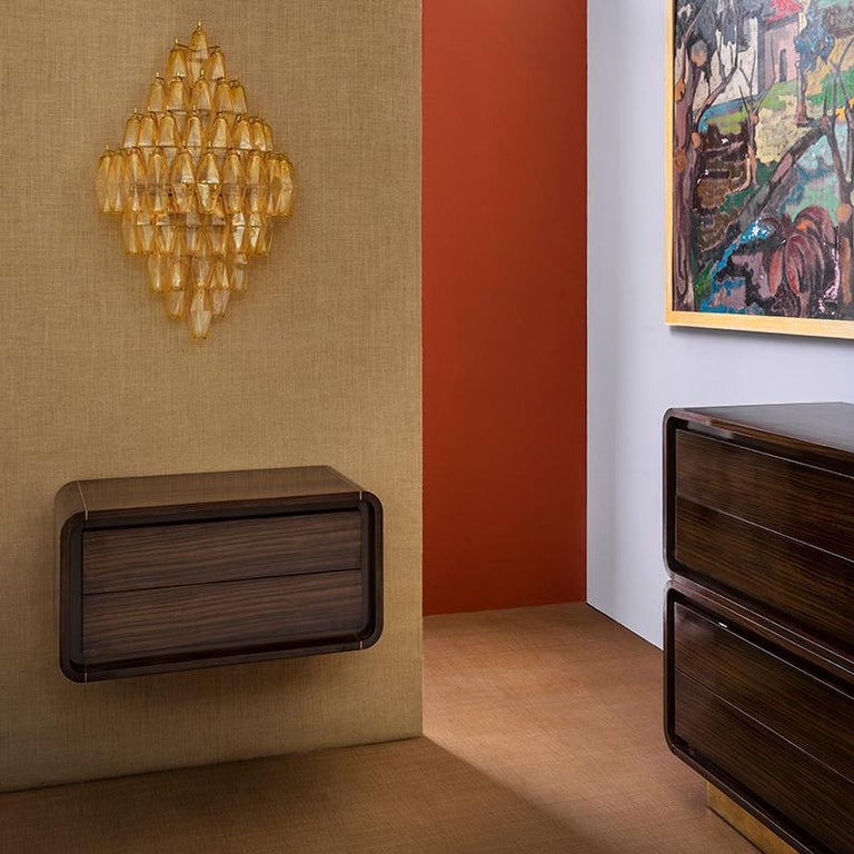 Polished Oscar Cabinet or Bedside Table, Bespoke, Rosewood with Antique Brass Detail For Sale