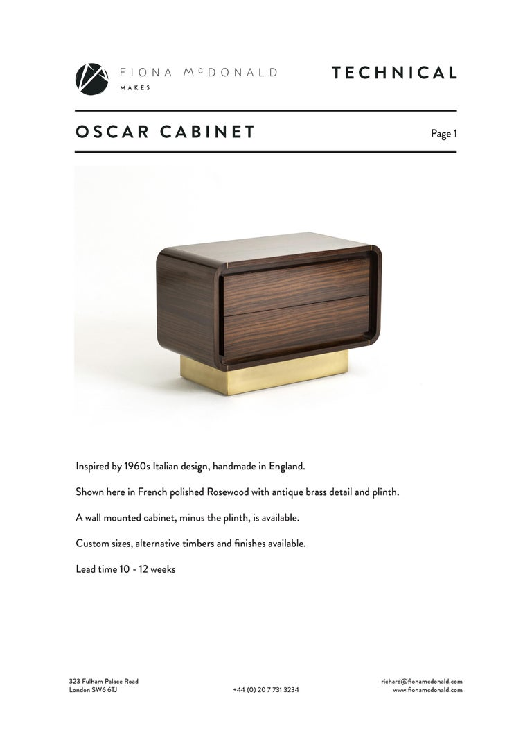 Oscar Cabinet or Bedside Table, Bespoke, Rosewood with Antique Brass Detail In New Condition For Sale In London, GB
