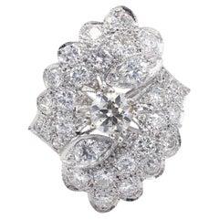 Oscar Caplan Old European Cut 3.90 Carat Diamond Platinum Cluster Cocktail Ring