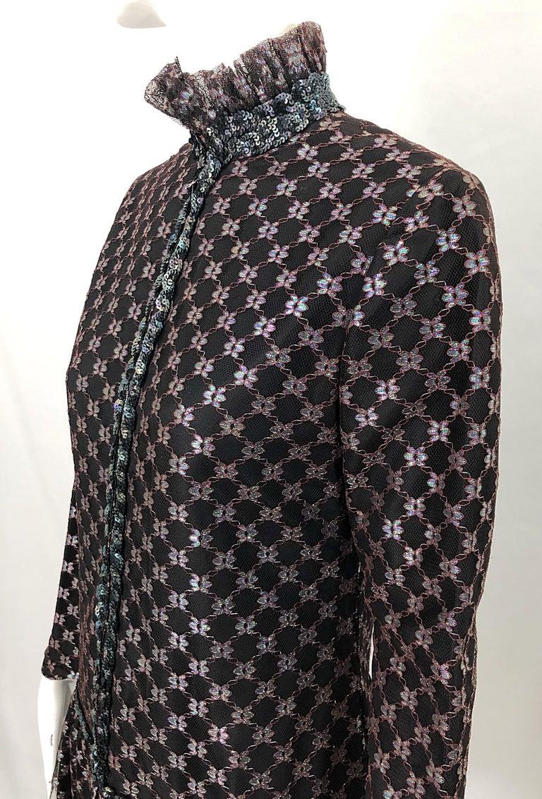 Oscar de la Renta 1970s Black + Burgundy Red Iridescent Sequin Drop Waist Dress For Sale 6