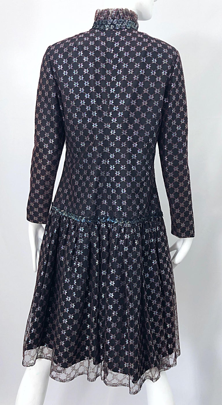 Oscar de la Renta 1970s Black + Burgundy Red Iridescent Sequin Drop Waist Dress For Sale 7