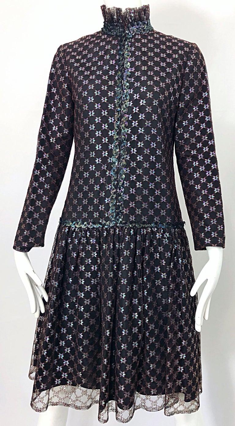 Oscar de la Renta 1970s Black + Burgundy Red Iridescent Sequin Drop Waist Dress For Sale 8