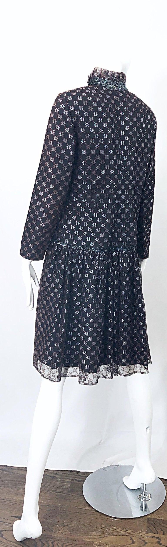 Oscar de la Renta 1970s Black + Burgundy Red Iridescent Sequin Drop Waist Dress For Sale 9