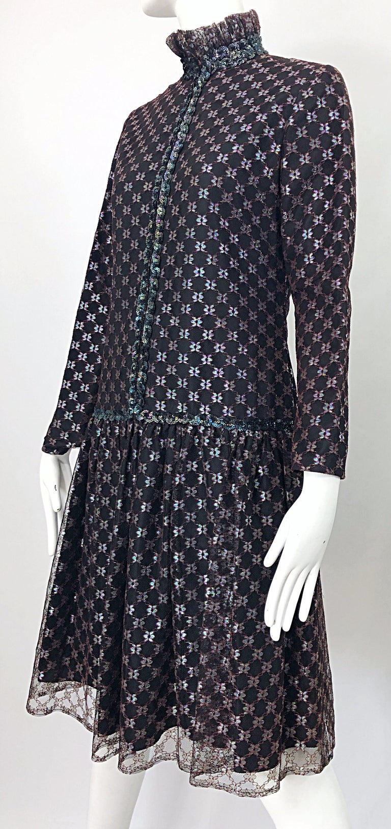 Oscar de la Renta 1970s Black + Burgundy Red Iridescent Sequin Drop Waist Dress For Sale 10
