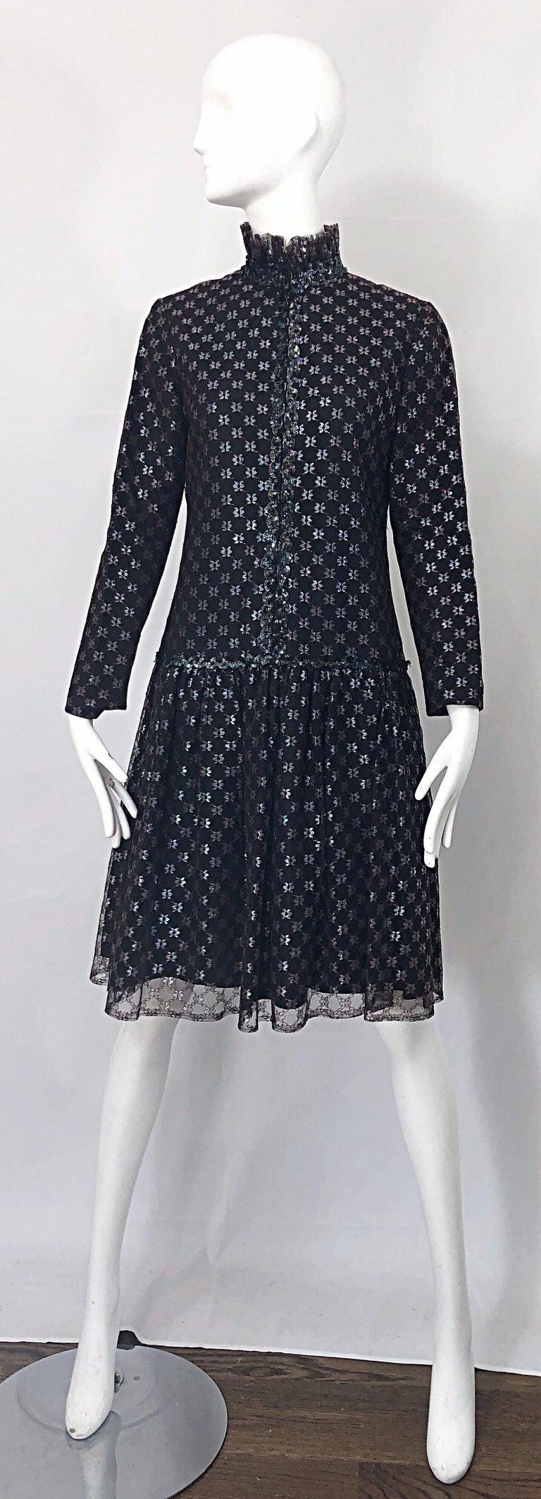 Oscar de la Renta 1970s Black + Burgundy Red Iridescent Sequin Drop Waist Dress For Sale 11