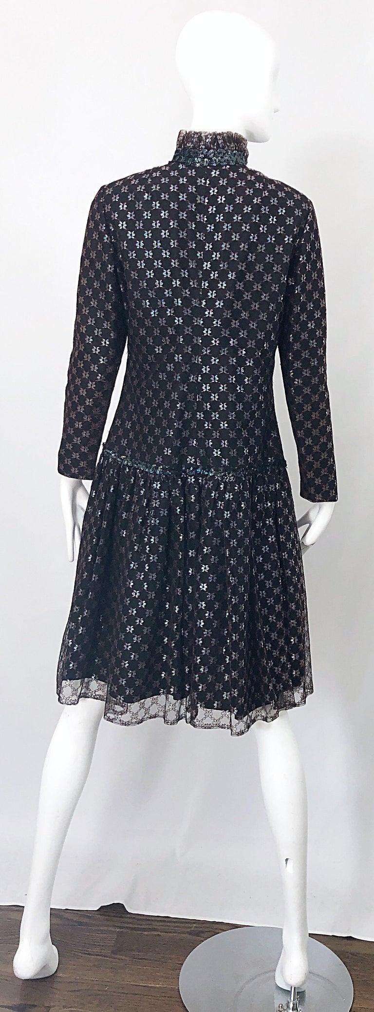 Women's Oscar de la Renta 1970s Black + Burgundy Red Iridescent Sequin Drop Waist Dress For Sale