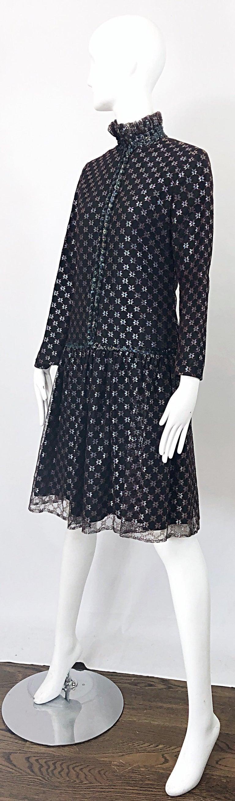 Oscar de la Renta 1970s Black + Burgundy Red Iridescent Sequin Drop Waist Dress For Sale 1