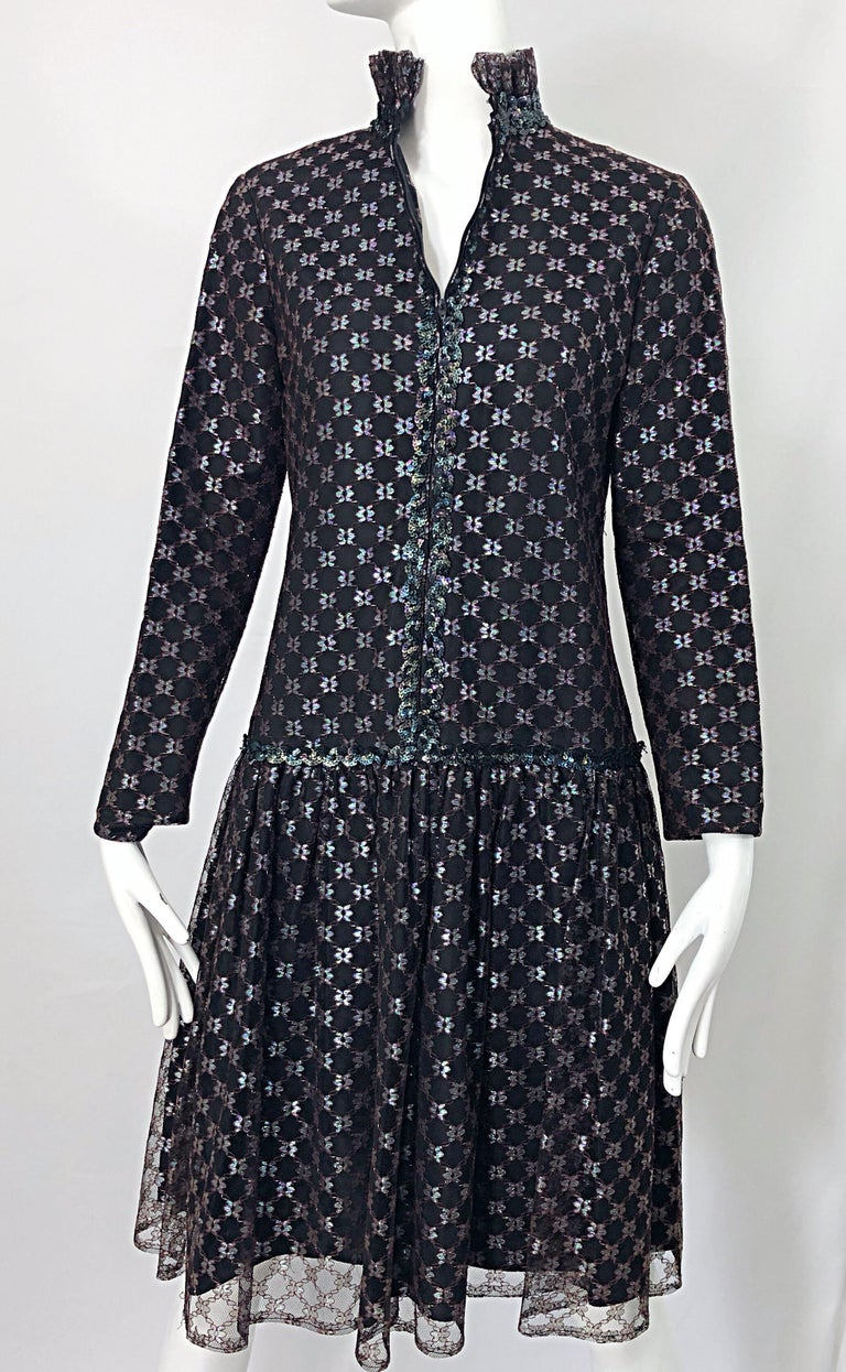 Oscar de la Renta 1970s Black + Burgundy Red Iridescent Sequin Drop Waist Dress For Sale 2