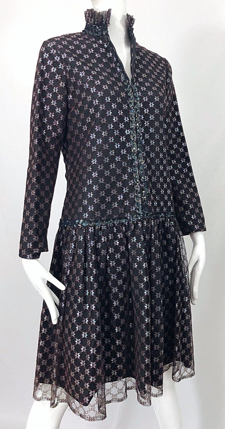Oscar de la Renta 1970s Black + Burgundy Red Iridescent Sequin Drop Waist Dress For Sale 3
