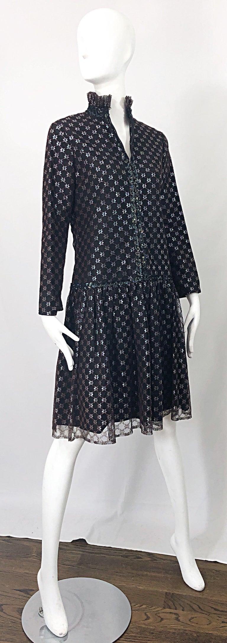 Oscar de la Renta 1970s Black + Burgundy Red Iridescent Sequin Drop Waist Dress For Sale 5