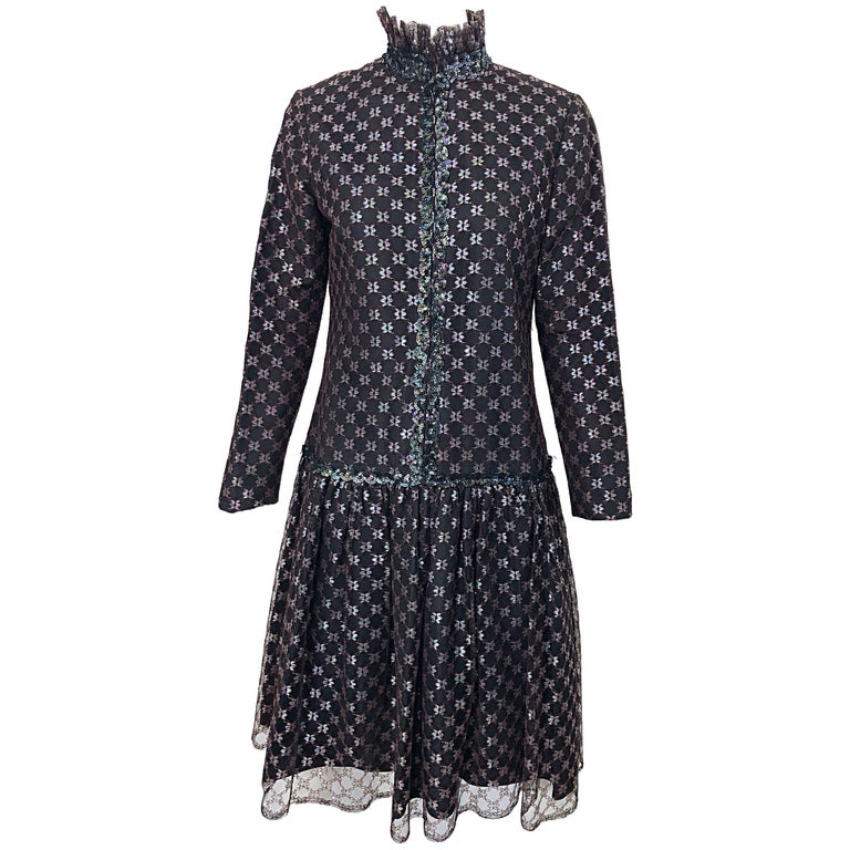 Oscar de la Renta 1970s Black + Burgundy Red Iridescent Sequin Drop Waist Dress For Sale