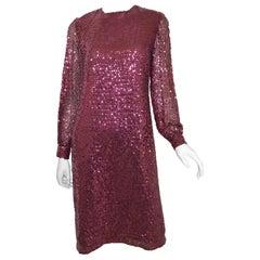Oscar de la Renta 1970's Sequin-Embellished Shift Dress