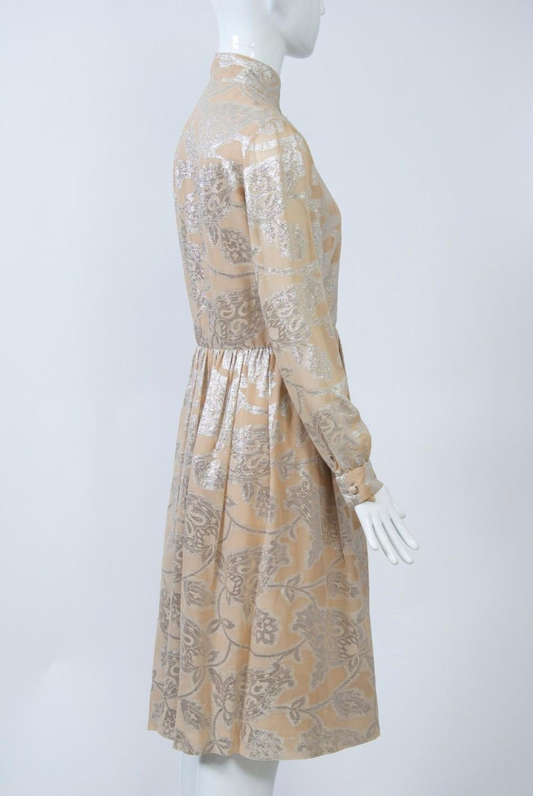Women's Oscar de la Renta 1970s Sheer Beige/Metallic Dress For Sale