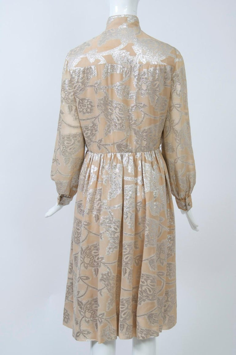Oscar de la Renta 1970s Sheer Beige/Metallic Dress For Sale 1