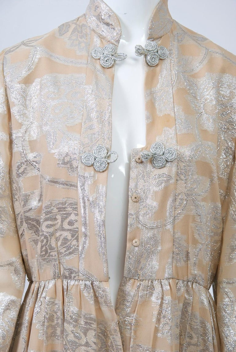 Oscar de la Renta 1970s Sheer Beige/Metallic Dress For Sale 3