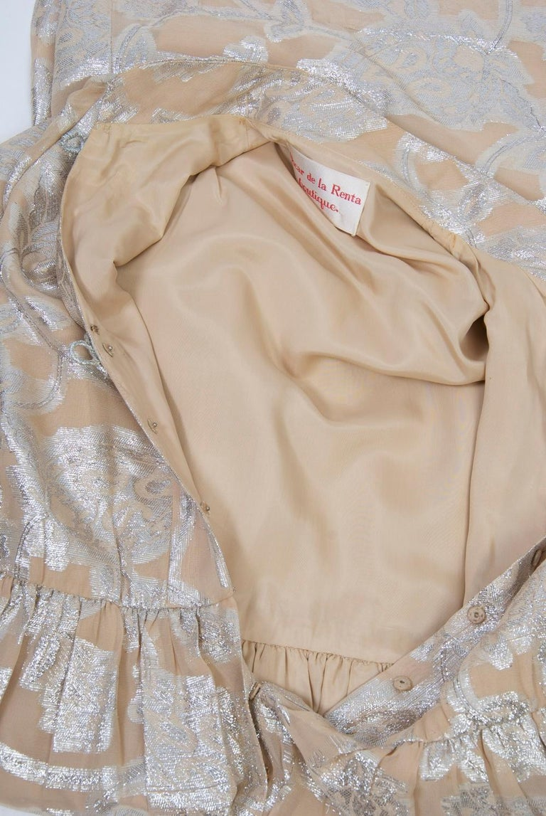 Oscar de la Renta 1970s Sheer Beige/Metallic Dress For Sale 5