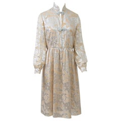 Oscar de la Renta 1970s Sheer Beige/Metallic Dress
