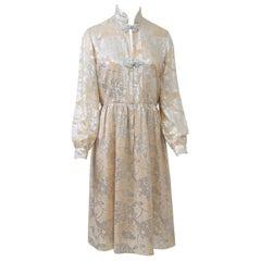 Oscar de la Renta 1970s Sheer Beige/Metallic Dress